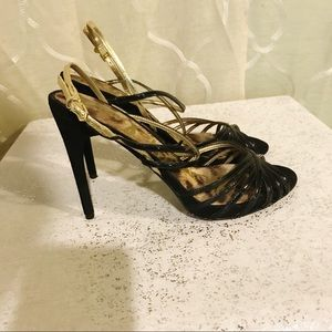 Sam Edelman Harlette heel sandal black and gold